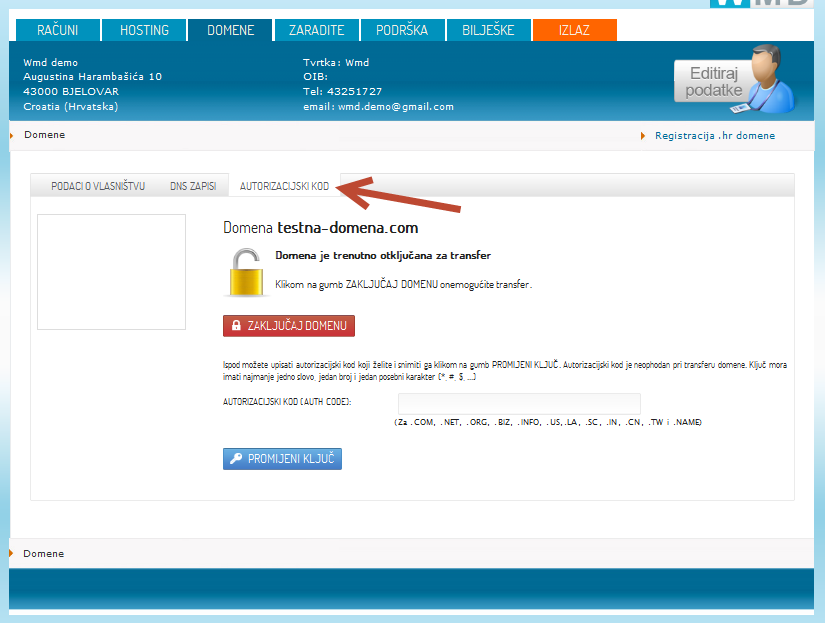 autorizaciski kod domene