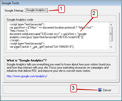 VSC - google analytics