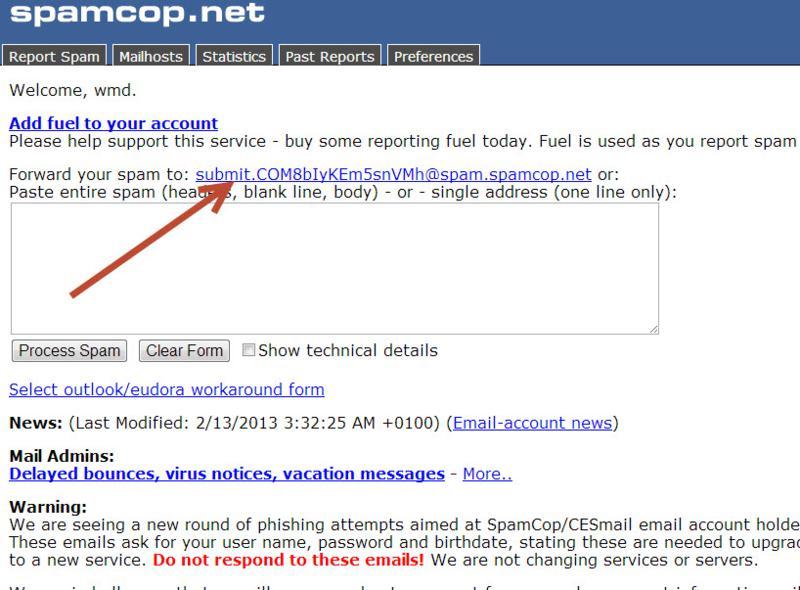 report a spam